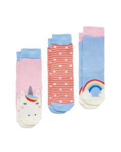 Joules Junior Girls Brilliant Bamboo 3 Pack Socks