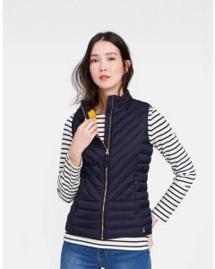Joules Ladies Brindley Chevron Quilted Gilet Marine Navy