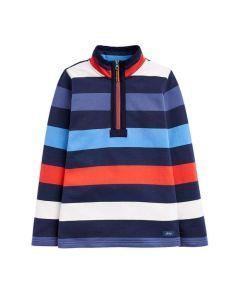 Joules Junior Dale Half Zip Sweatshirt Blue Red Stripe