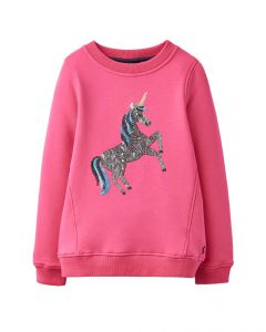 Joules Kids Girls Viola Fur Back Sweatshirt
