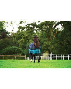 Horseware Mio 200g Mediumweight Turnout Rug Black/Turquoise