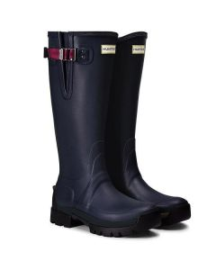 Hunter Womens Balmoral Side Adjustable 3mm Neoprene Wellington Boots Navy/Peppercorn