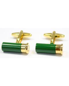 Sax Mens Cartridge Cufflinks Green / Gold