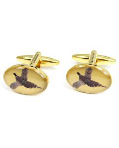 Sax Mens Flying Pheasant Cufflinks Gold