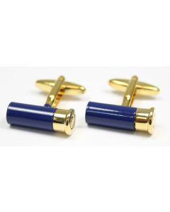 Sax Mens Soprano Cartridge Cufflinks Blue & Gold