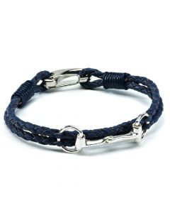 Hiho Silver Sterling Silver Snaffle Leather Bracelet Navy