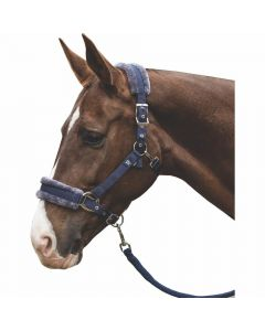 Mark Todd Navy Fleece Lined Headcollar and Lead Rope Navy
