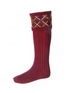 House of Cheviot Melrose Burgundy Socks - Cheshire, UK