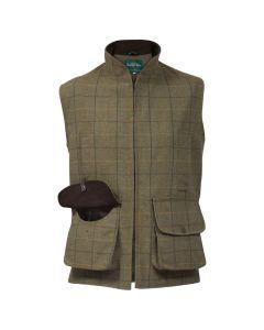 Alan Paine Mens Rutland Tweed Waistcoat Dark Moss