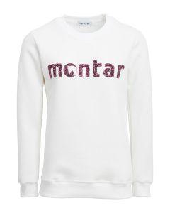 Montar Ladies Tania Sweatshirt Sequin Logo White