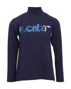 Montar Ladies Joan Flip Sequin Turtle Neck T-Shirt Navy