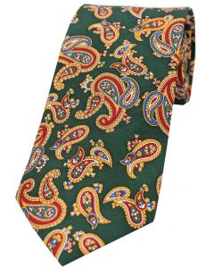 Sax Mens Vintage Paisley Tie Forest Green