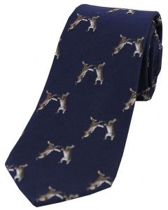 Sax Mens Boxing Hares Country Silk Tie Navy