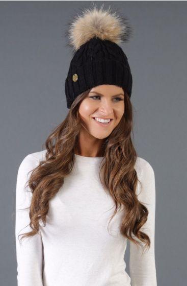 Holland Cooper Ladies Cable Knit Bobble Hat Black
