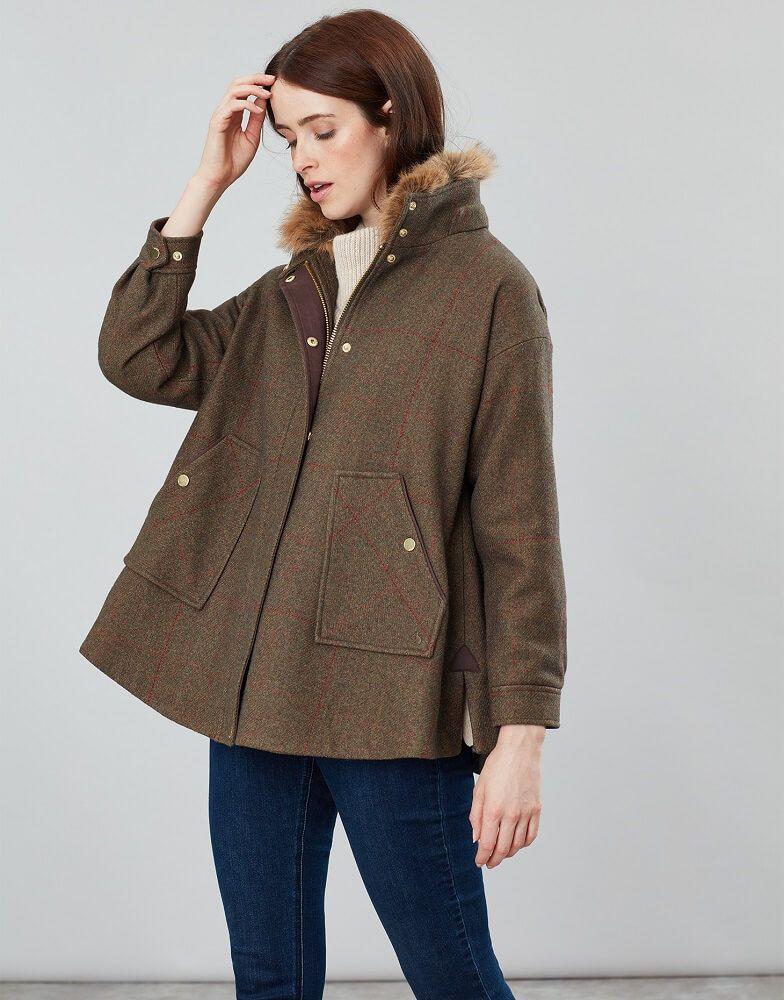 Joules Ladies Carolyn Tweed Swing Coat