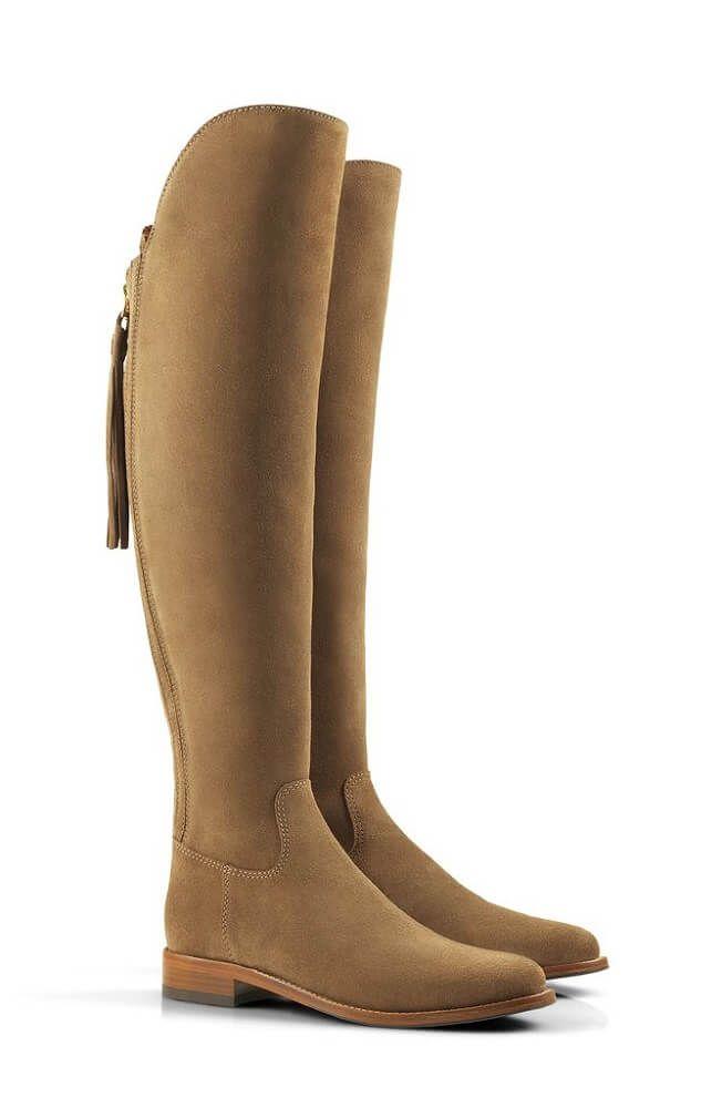 Favor Ladies Amira Flat Boots Suede Tan