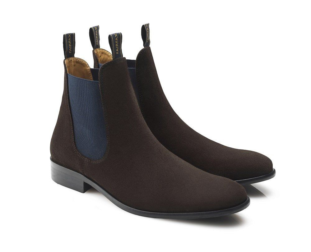 Favor Mens Suede Chelsea Boots Chocolate