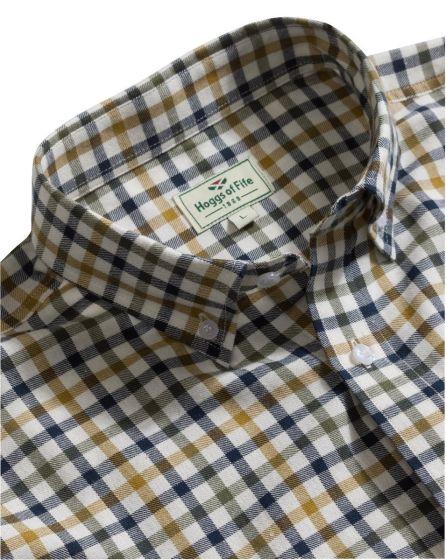 Hoggs of Fife Mens Short Sleeve Bold Check Shirt Navy / Tan / Green