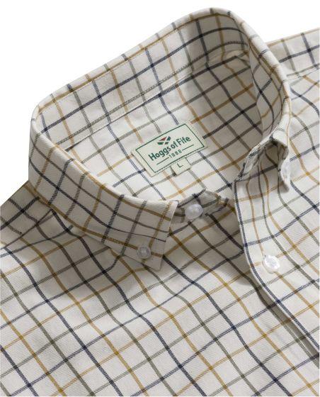 Hoggs of Fife Mens Short Sleeve Tattersall Shirt Navy / Tan / Green