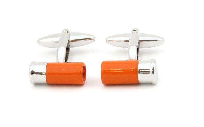 Sax Mens Shotgun Cartridge Cufflinks Orange