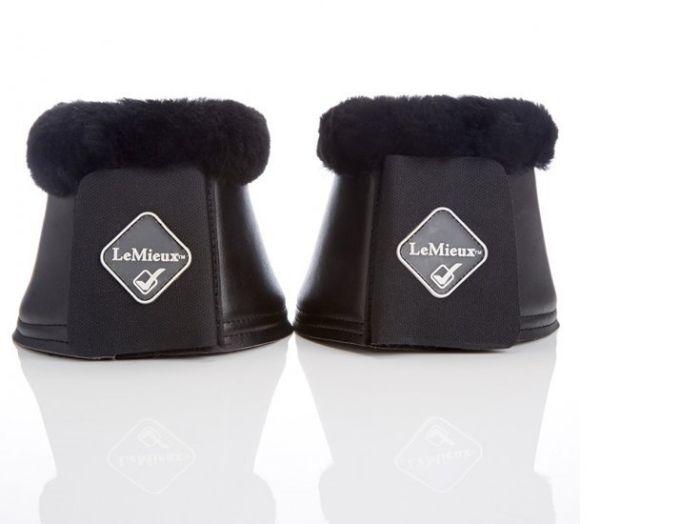 LeMieux Faux Leather Lambskin Over Reach Boots Black/Black