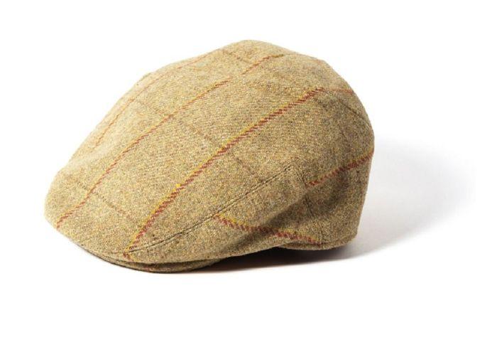 Failsworth Gamekeeper Wool Tweed Flat Cap Beige Red/Gold Check