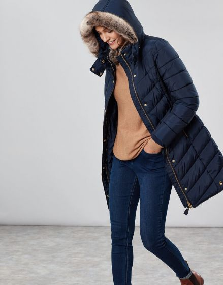 Joules Ladies Cherington Long Padded Coat With Detachable Hood