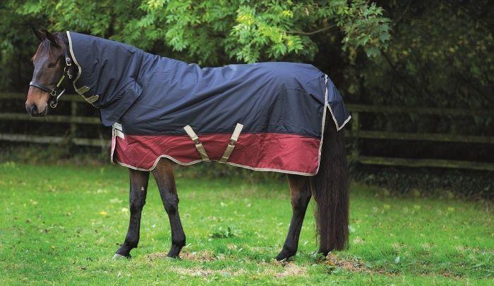Horseware Mio All-In-One Piece Medium Weight 200G Turnout Rug Navy/Burgundy