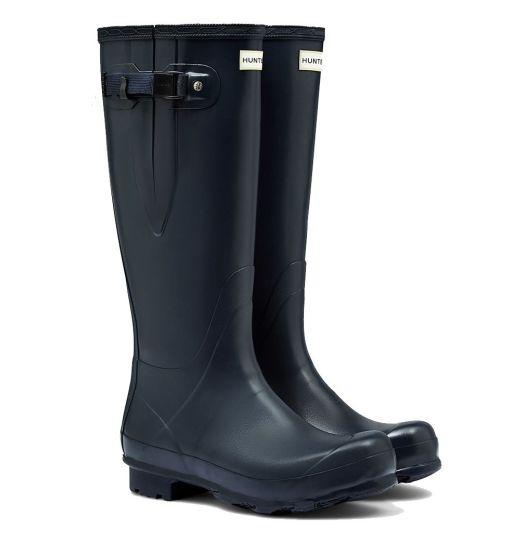 Hunter Mens Norris Field Side Adjustable Wellington Boots Navy