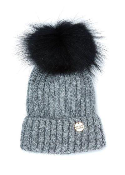 Holland Cooper Ladies Wool Blend Fur Bobble Hat Grey
