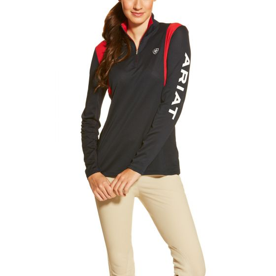 Ariat Ladies Team Sunstopper 1/4 Zip Navy