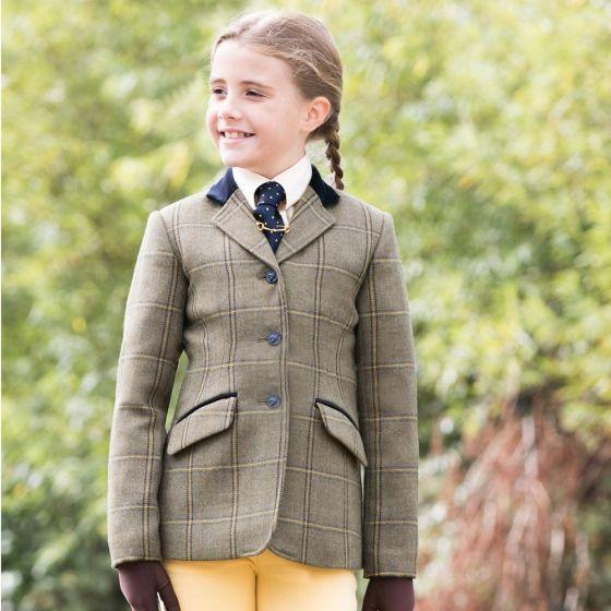 Equetech Jnr Kenton Deluxe Green Tweed Riding Jacket