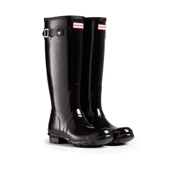 Hunter Womens Original Tall Gloss Wellington Boots Black