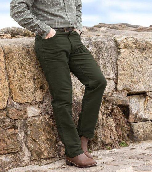 Hoggs of Fife Moleskin Jeans Dark Olive
