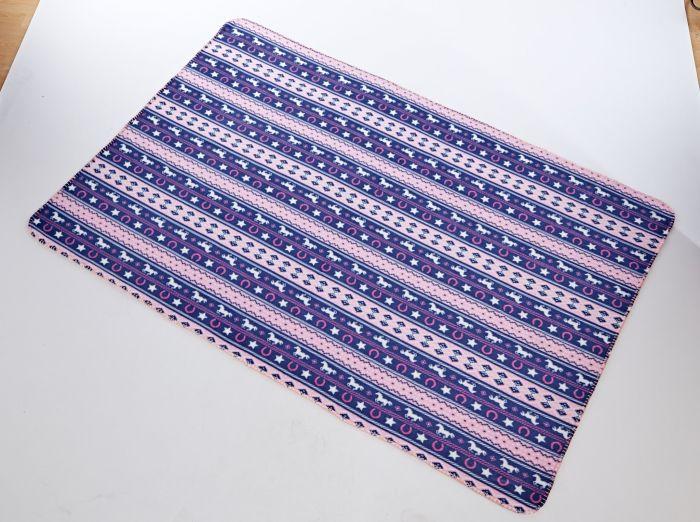 Platinum Fairisle Fleece Blanket Horse Print Navy