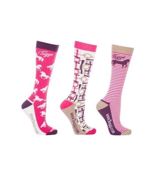 Toggi Ladies 3 Pack Baveno Horse Socks Peony