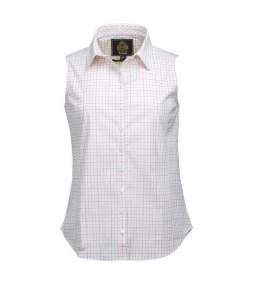Toggi Ladies Fratello Sleeveless Tatersall Check Shirt Hydrangea