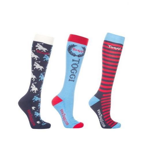 Toggi Ladies 3 Pack Polperro Equestrian Socks Night Blue