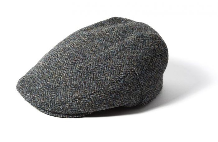 Failsworth Stornoway Harris Tweed Flat Cap Blue Mix