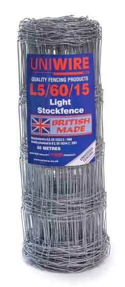L5/60/15 Light Stock Fencing 50m