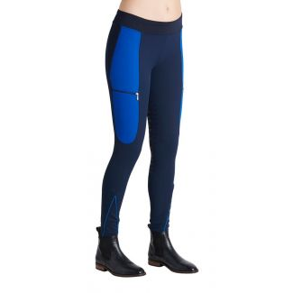 Montar Ladies Maddy Elastic Waist Full Grip Breeches Navy/Royal Blue