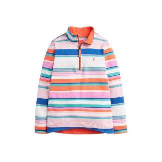 Joules Junior Fairdale Half Zip Sweatshirt Pink Multi Stripe