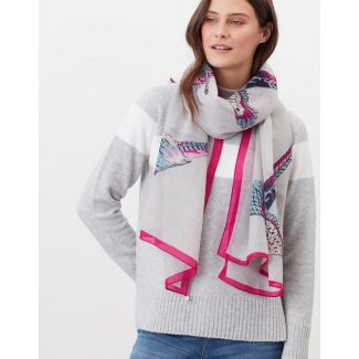 Joules Ladies Julianne Wool Rectangle Scarf-Silver Pheasants