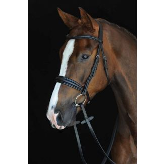 Collegiate Mono Crown Padded Raised Cavesson Bridle Black