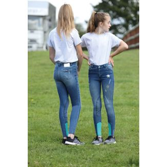 Shires Childrens Aubrion Denim Star Breeches