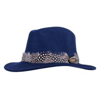 Hicks & Brown Ladies Suffolk Fedora Hat Navy Guinea Feather