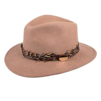 Hicks & Brown Ladies Suffolk Fedora Hat Camel Pheasant Feather