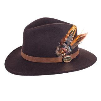 Hicks & Brown Ladies Suffolk Fedora Hat Dark Brown Gamebird Feather