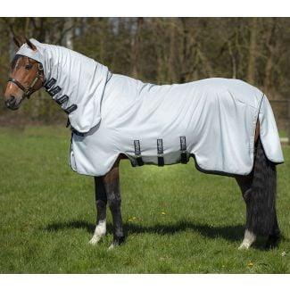 Horseware Rambo Hoody Fly Rug Grey/Beige, Baby Blue & Navy