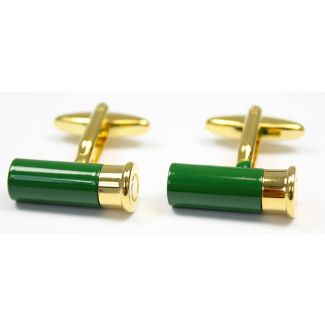Sax Mens Cartridge Cufflinks Green / Gold